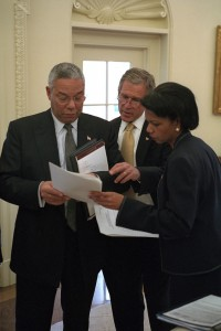 Colin Powell, George W. Bush, and Condoleezza Rice