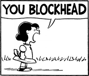 "Lucy yelling ""You Blockhead!"""
